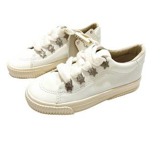 NWT! Zara Off White PU Silver Star Sneakers